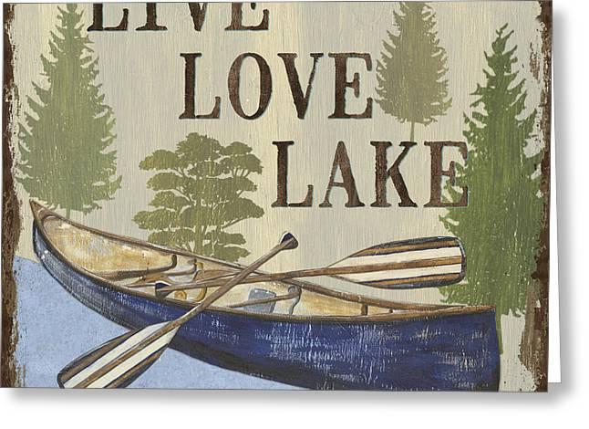 Peace Symbol Greeting Cards - Live, Love Lake Greeting Card by Debbie DeWitt