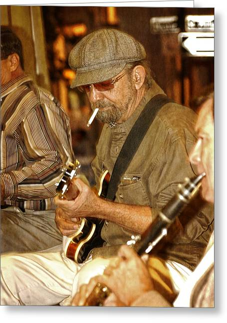 Guitar Man Greeting Cards - Live Music In New Orleans Greeting Card by Greg and Chrystal Mimbs
