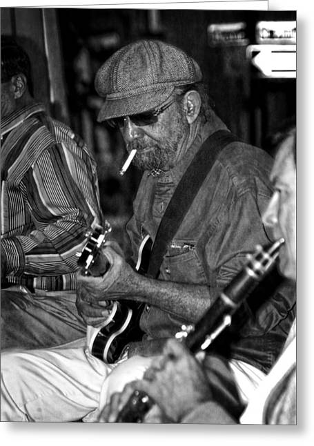 Guitar Man Greeting Cards - Live Music In New Orleans in Black and White Greeting Card by Greg and Chrystal Mimbs
