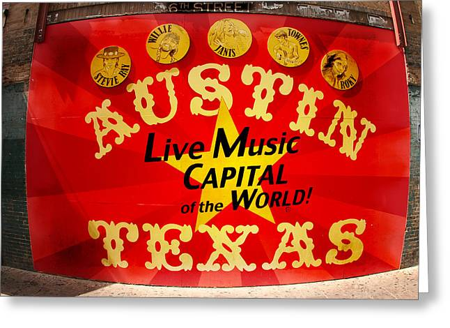 Live Music Mural Of Austin Greeting Card by Andrew Nourse