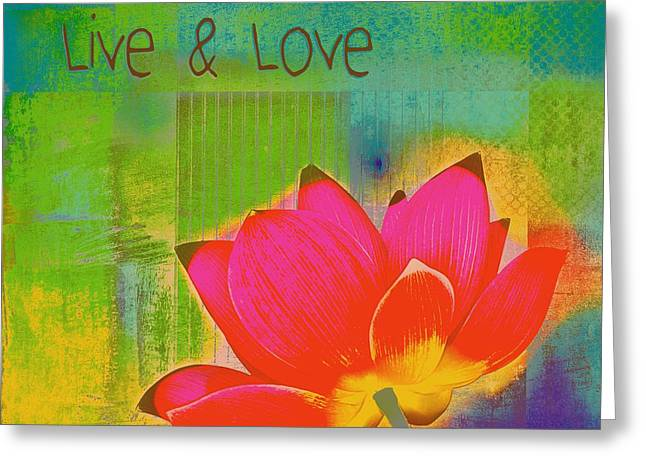 Multicolor Digital Greeting Cards - Live n Love - 1122 Greeting Card by Variance Collections