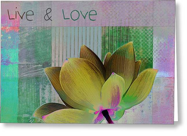 Square Format Greeting Cards - Live n Love - 88b Greeting Card by Variance Collections