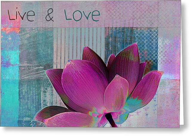 Pink Digital Greeting Cards - Live n Love - 89cc Greeting Card by Variance Collections