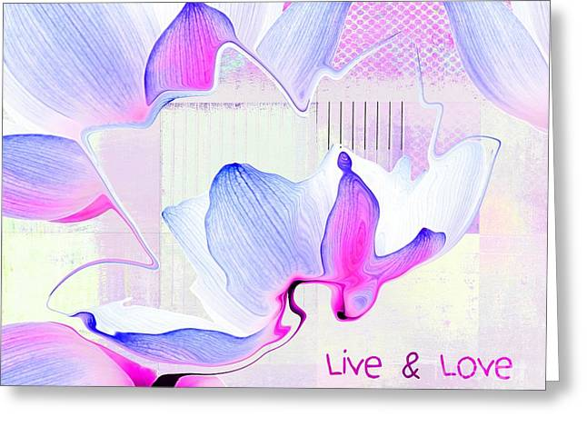 Pink Digital Greeting Cards - Live n Love - absf14a Greeting Card by Variance Collections