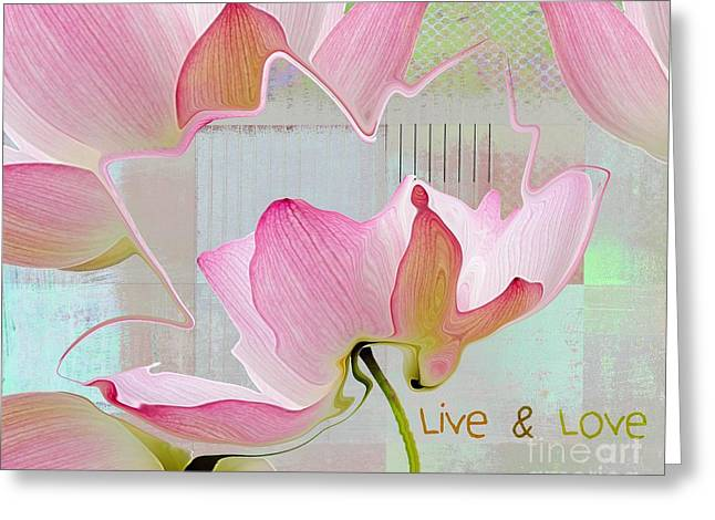 Square Format Greeting Cards - Live n Love - absfl23b Greeting Card by Variance Collections