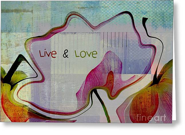 Textured Floral Greeting Cards - Live n Love - absfl2tc2 Greeting Card by Variance Collections