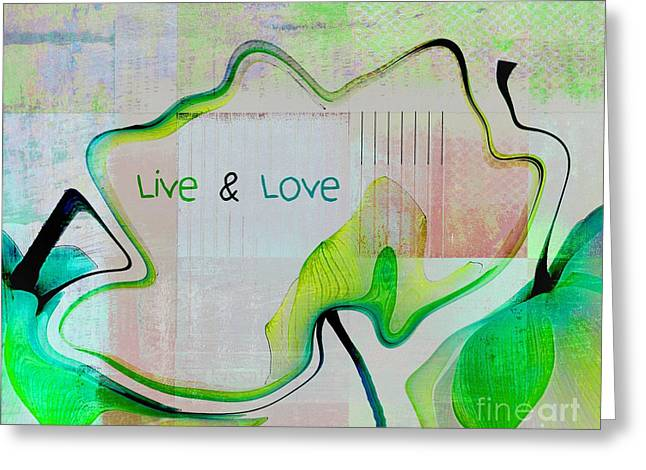 Square Format Greeting Cards - Live n Love - absfl9tc2 Greeting Card by Variance Collections