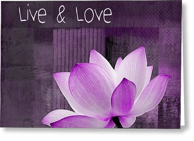 Purple Floral Greeting Cards - Live n Love - cttt Purple Greeting Card by Variance Collections