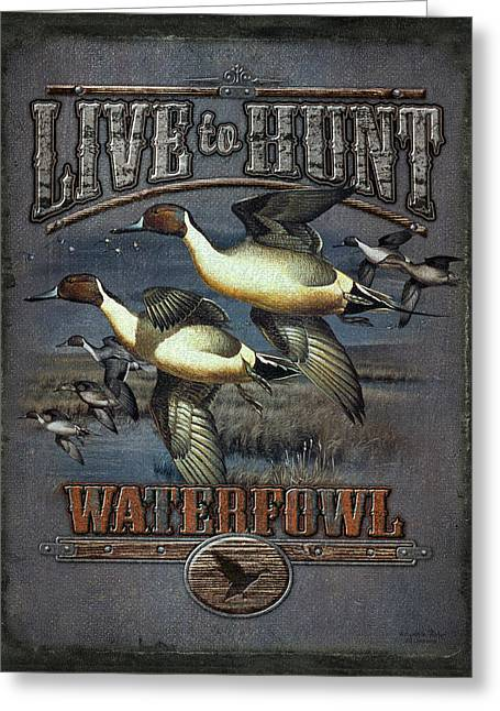 Wetland Greeting Cards - Live to Hunt Pintails Greeting Card by JQ Licensing