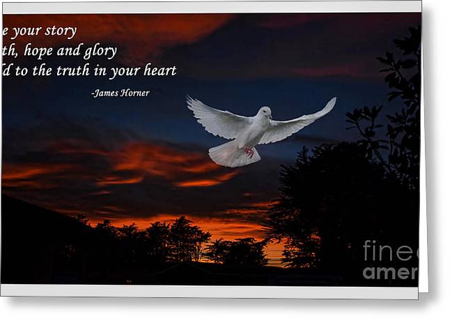 Live Your Story Faith Hope And Glory Greeting Card by Jim Fitzpatrick