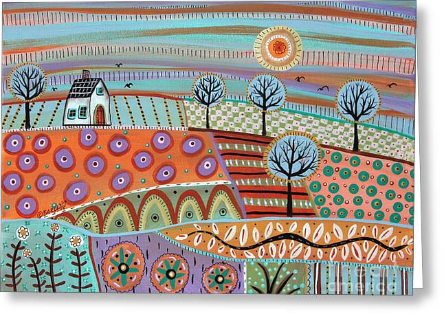 Folk Art Landscapes Greeting Cards - Lively Landscape Greeting Card by Karla Gerard
