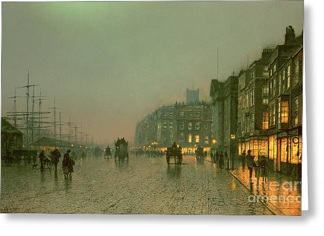 Street Lights Greeting Cards - Liverpool Docks from Wapping Greeting Card by John Atkinson Grimshaw