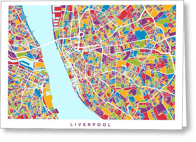 Retro Abstract Greeting Cards - Liverpool England City Street Map Greeting Card by Michael Tompsett