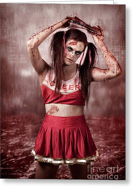 Living Dead School Girl In Headline Nightmare Greeting Card by Jorgo Photography - Wall Art Gallery