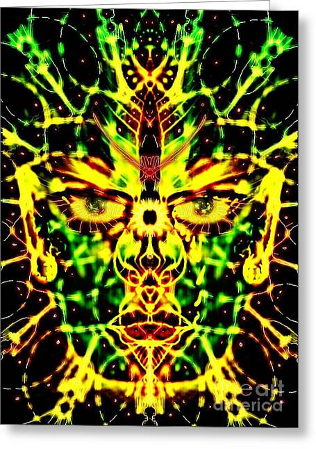 Gaia Greeting Cards - Living Face of Gaia Greeting Card by Michael African Visions