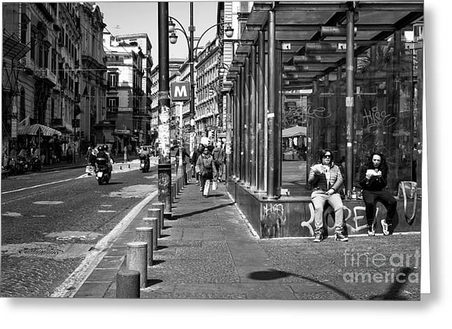 Pizza Places Greeting Cards - Living in Naples Greeting Card by John Rizzuto