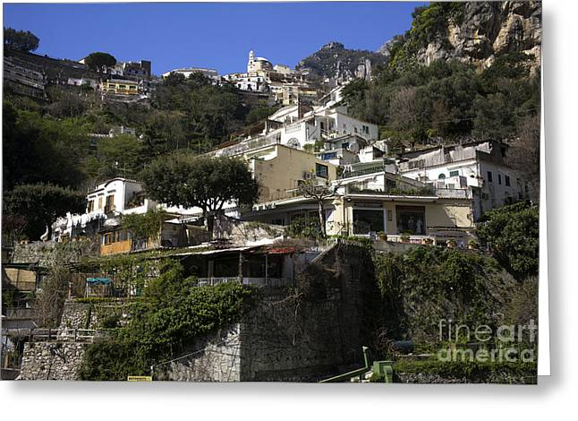 Living Artist Greeting Cards - Living in the Positano Hills Greeting Card by John Rizzuto