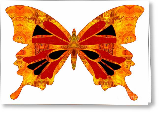 Circle Glass Greeting Cards - Living Patterns And Abstract Butterflies by Omashte Greeting Card by Omaste Witkowski