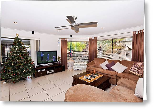 Sliding Glass Door Greeting Cards - Living Room at Christmas Greeting Card by Darren Burton