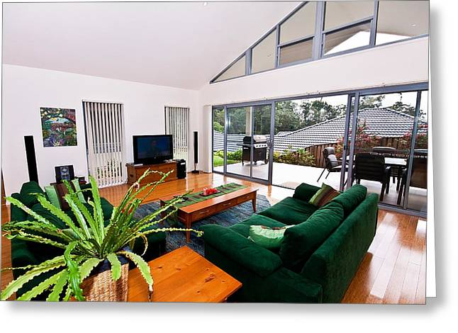 Sliding Glass Door Greeting Cards - Living Room With Slanted Ceiling Greeting Card by Darren Burton
