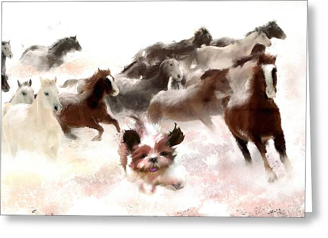 Puppy Digital Art Greeting Cards - Living the past Greeting Card by Richard Okun