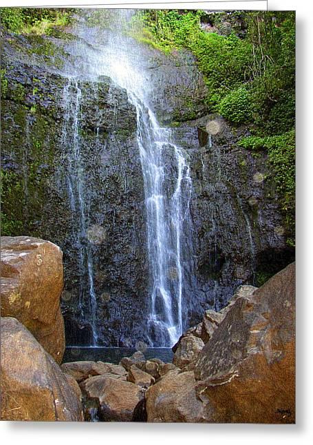Living Waters - Wailua Falls Maui Greeting Card by Glenn McCarthy Art and Photography