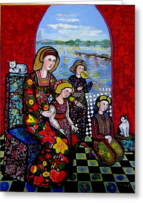 Medieval Tapestries - Textiles Greeting Cards - Liz Combing Madeline in Portsmouth Greeting Card by Marilene Sawaf