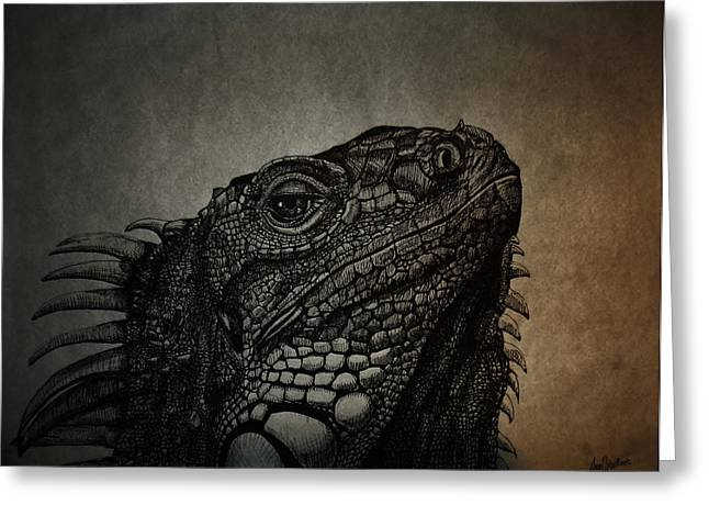Wild Life Drawings Greeting Cards - Lizard Greeting Card by Ana Djurkovic