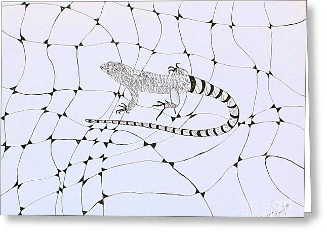 Landscape Framed Prints Greeting Cards - Lizard Greeting Card by Joanna Thompson