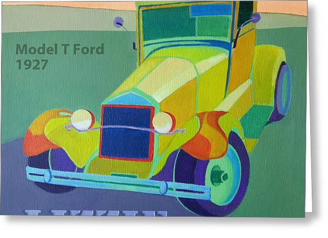 Lizzie Model T Greeting Card by Evie Cook