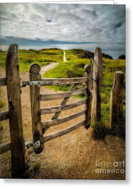 Fence Gate Greeting Cards - Llanddwyn Island Gate Greeting Card by Adrian Evans