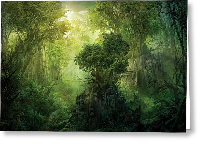 Lush Greeting Cards - Llanowar Reborn Greeting Card by Philip Straub