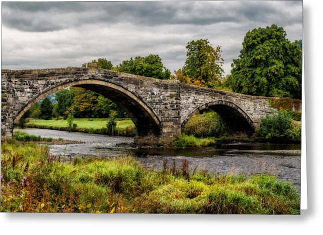 Plaque Greeting Cards - Llanrwst Bridge Panorama Greeting Card by Adrian Evans