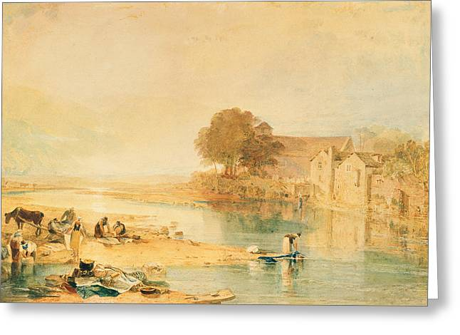 Washing Clothes Greeting Cards - Llanrwst Greeting Card by Joseph Mallord William Turner