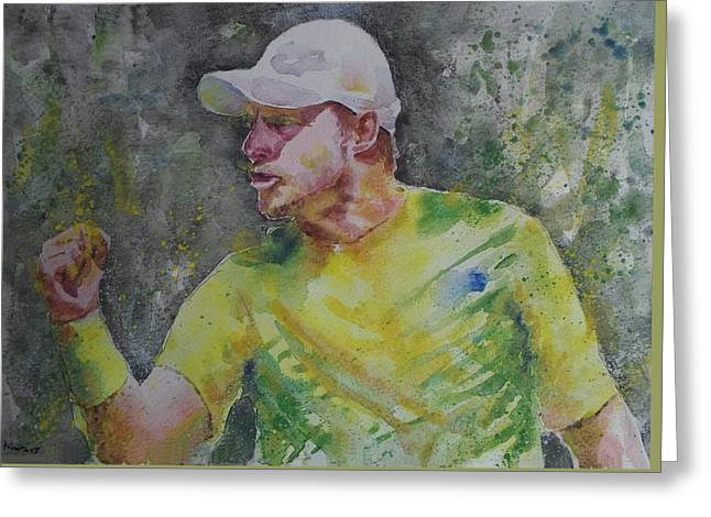 Lleyton Hewitt Greeting Cards - Lleyton Hewitt - Portrait 1 Greeting Card by Baresh Kebar - Kibar
