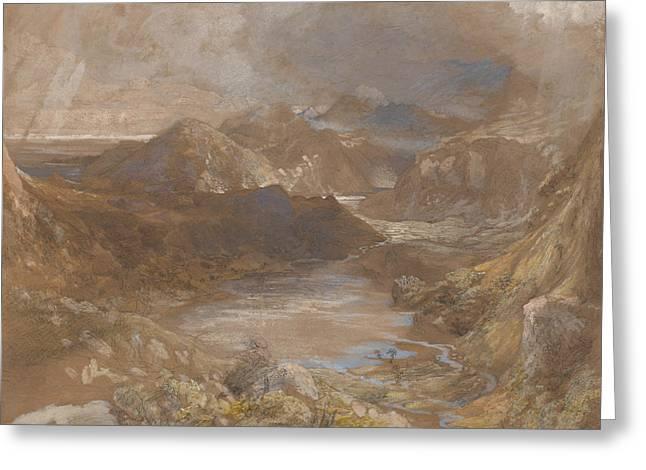 Llwyngwynedd And Part Of Llyn-y-ddina Between Capel Curig And Beddegelert Greeting Card by Samuel Palmer