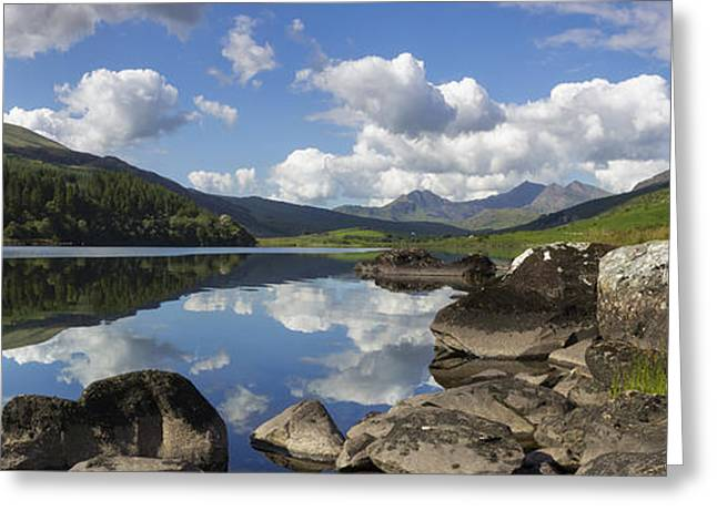 Park Scene Greeting Cards - Llyn Mymbyr and Snowdon Panorama Greeting Card by Ian Mitchell