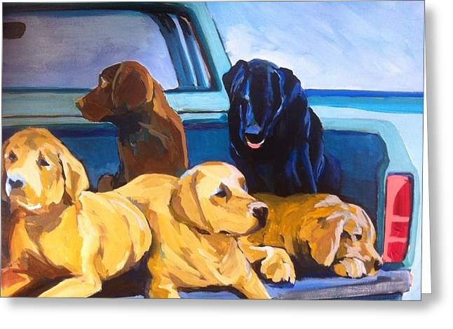 Chocolate Lab Greeting Cards - Loaded Up Greeting Card by Gordie Hinds