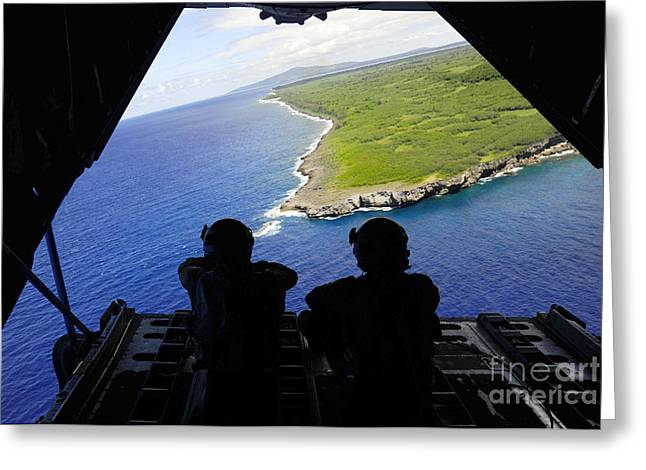 C-130 Greeting Cards - Loadmasters Look Out Over Tumon Bay Greeting Card by Stocktrek Images