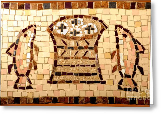 Loaves And Fishes Mosaic Greeting Card by Lou Ann Bagnall