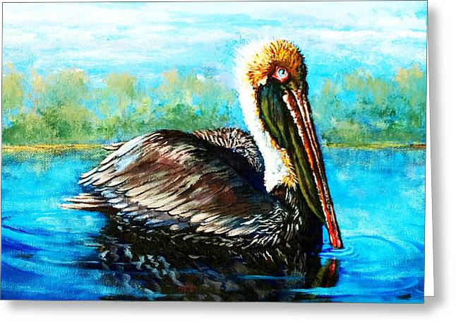 Waterfowl Paintings Greeting Cards - Lobservateur Greeting Card by Dianne Parks