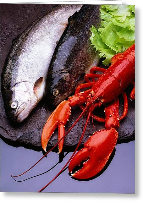 Sea Animals Greeting Cards - Lobster And Trout Greeting Card by The Irish Image Collection