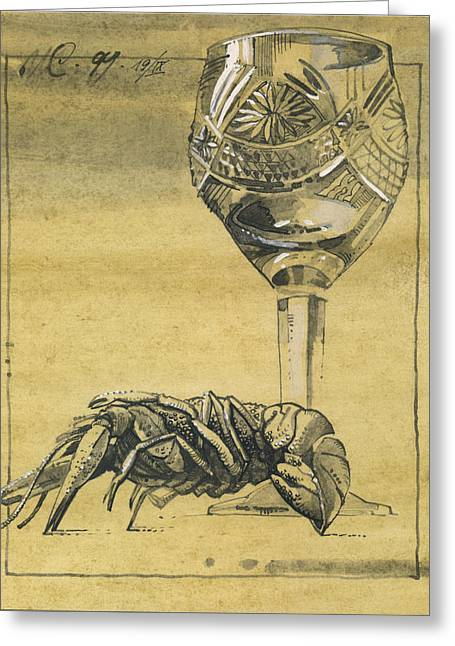 Interior Still Life Drawings Greeting Cards - Lobster and  Wineglass. Paradox Still Life Greeting Card by Igor Sakurov