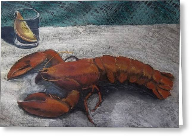 Dinner Pastels Greeting Cards - Lobster  Greeting Card by Becky Chappell