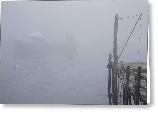 Foggy Ocean Greeting Cards - Lobster Boat And Boat Dock In Fog  New Greeting Card by Lynn Stone