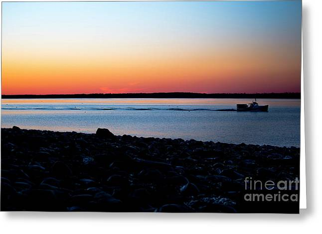 Lobster Boat In Maine Greeting Card by Diane Diederich
