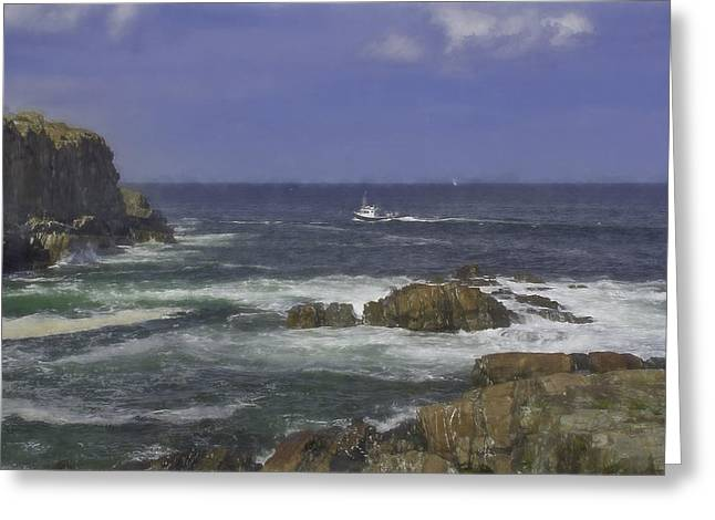 Coastal Maine Greeting Cards - lobster boat of coast of Maine Greeting Card by Jim LaMorder