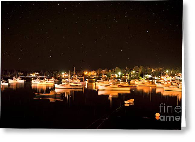 New England Village Greeting Cards - Lobster boats in harbor. Greeting Card by John Greim