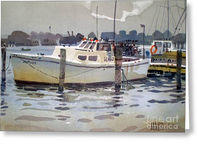 Lobster Greeting Cards - Lobster Boats in Shark River Greeting Card by Donald Maier