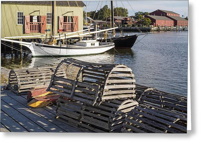 Wooden Ship Greeting Cards - Lobster Boxes Mystic Seaport Greeting Card by Marianne Campolongo
